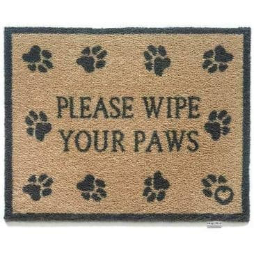 Superb Eco-Friendly Indoor Mat with 'Please Wipe Your Paws' Text & Heart Design
